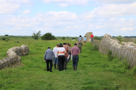 walking through ruins